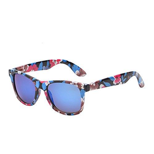 JM Retro Vintange Revo Sonnenbrille Dame Herre Federscharnier Horn mit Rand UV400 Blau Blumen Rahmen
