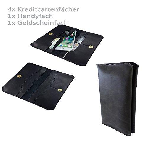 Handy Portemonnaie & Handy Schutzhülle | für SISWOO A4 Chocolate | Unisex Geldbörse | P1 Schwarz PU