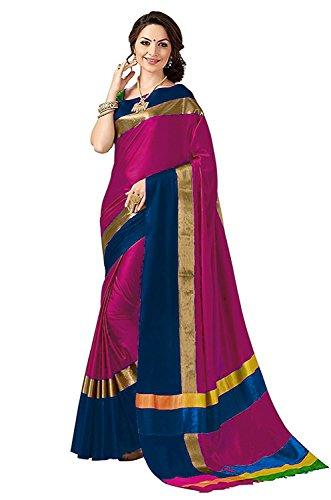 PerfectBlue Cotton Silk Saree(Pink Dark Blue_Free Size)
