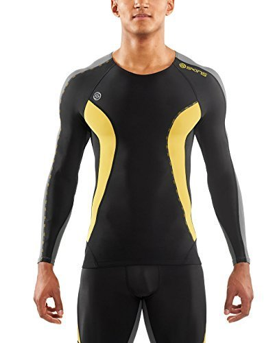 Skins Men's Dnamic Long Sleeve Top, Black/Citron, Medium