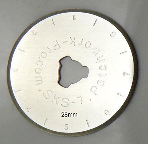 Ersatzklingen 5x Klingen 28mm 28 mm Marke Patchwork-Pro, Deutscher Klingen-Stahl für Rollschneider Rollmesser Rotary Blade Patchwork Quilt