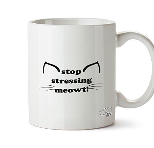 hippowarehouse Stop betonen Meowt. Kitty Ohren und Schnurrhaare 283,5Tasse, keramik, weiß, One Size (10oz)