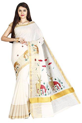JISB Cotton Kasavu Saree With Blouse Piece (Tjt01316_Cream Ivory_Free Size)
