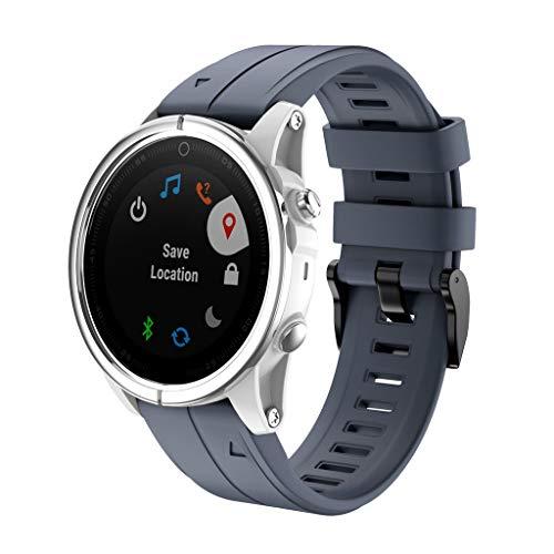 Huhu833 für Garmin Fenix 5S/5S Plus Armband, Sport Silikon UhrBand Uhrenarmband Ersatzarmband Strap für Garmin Fenix 5S/5S Plus 125-200mm (Marine) -