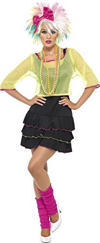 Smiffy's Adult Women's 80's Pop Tart Costume, Top, Dress and Headband, Back to the 80's, Serious Fun, Size: 12-14, 38823