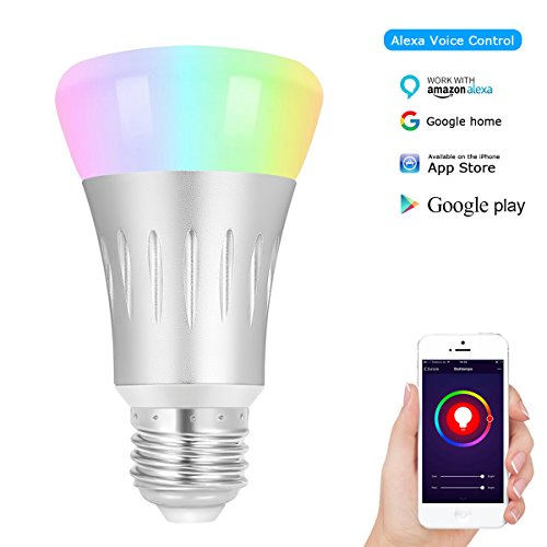 ALEXFIRST Wlan Smart LED Lampen, 7W E27 RGB Intelligentes Lampe, Multi Farbe Licht, kompatibel mit Amazon Alexa (Echo, Echo Dot) Google Home, Arbeit mit Smartphone App Android iOS, Smart Home