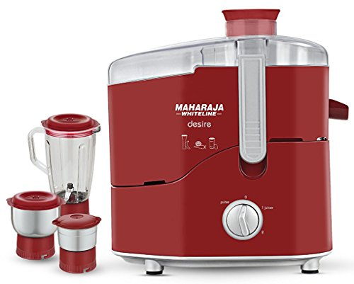 Maharaja Whiteline Desire Red Treasure 550-Watt Juicer Mixer Grinder (Red/Silver)  available at amazon for Rs.2183