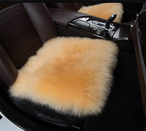 alvyu Universal Vier Jahreszeiten Auto Sitzbezüge,18 Zoll luxuriöse Schaffell Lange Wolle AutoSitzbezüge Stuhl Kissen,Camel -