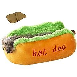 ZSY pet Hot Dog Cama del animal doméstico, colchón suave del gato del perrito, perrera lavable desmontable divertida divertida, con las esteras de bambú para el verano , S