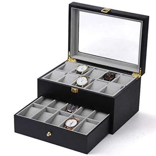 SODDEY Holz-Doppelschicht-Uhrenbox mit 20 Gittern, Schmuckdisplay-Aufbewahrungskoffer-Organizer, Transparenter Glasdeckel hält den Staub ab B