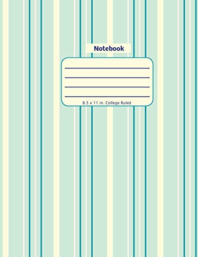 Notebook: Teal Striped - Large Size Notebook with College Ruled Lines in a Soft Cover Paperback (Pleasing Patterns Series)