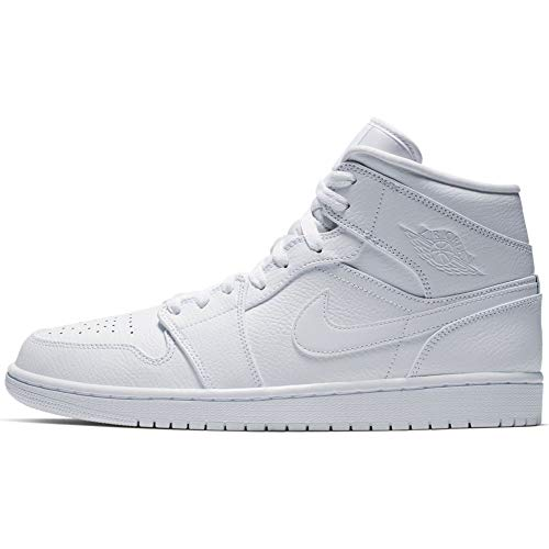 Nike Herren AIR Jordan 1 MID Basketballschuhe, Weiß (White/White/White 129), 47 EU