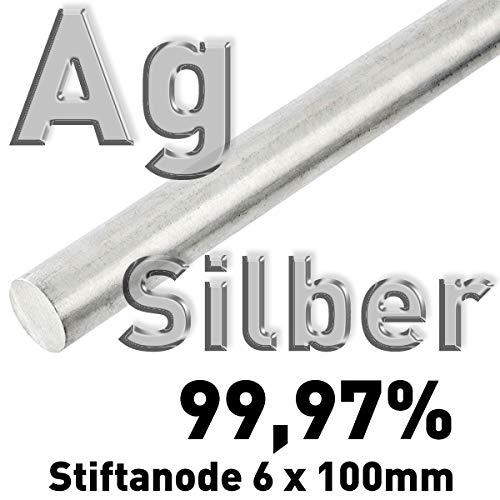 Plata Ag 99,97% varilla de ánodo Diámetro 6 mm x 100 mm Galvanik plata de ley electrodo varilla de plata 10 cm