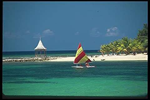 068045 Beach And Windsail Montego Bay Jamaica A4 Photo Poster Print 10x8
