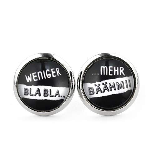 SCHMUCKZUCKER Damen Herren Ohrringe Motiv Weniger Bla Bla - Mehr Bähm lustige Edelstahl Ohrstecker Silber Schwarz 12mm
