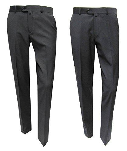 Anzughose klassisch Flat front gestreift Muga Dunkelblau