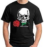 T-Shirt Maglietta Politic A04 Gabriele D'Annunzio Me ne frego Teschio e Rosa