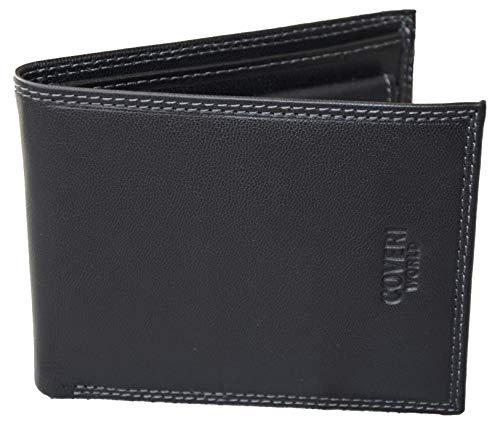 Coveri portafoglio uomo in vera pelle, nero, resistente; elegante, con portamonete a clip, porta tessere