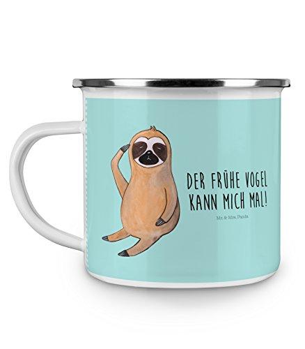 Mr. & Mrs. Panda Emaille Tasse Faultier Vogel zeigen - 100% handmade in Norddeutschland - Frühaufsteher, faul, Morgenmuffel, Spinner, Faultier, Metalltasse, Camping, , Kaffeebecher, Emaille Tasse, Tasse, Campingbecher