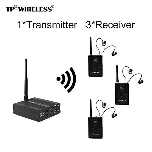 TP-WIRELESS 2.4GHz Professionelles digitales In-Ear Monitoring-System für Bühnen (1 Sender 3 Empfänger)