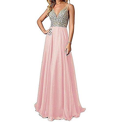 men Perlen Prom Kleider lange V-Ausschnitt Chiffon Abendkleider 2018 CLLA1006 ()