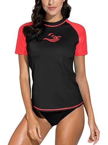 BesserBay Damen UV Schutz Shirt Kurzarm Badeshirt Surf Shirt UV Badekleidung XX-Large