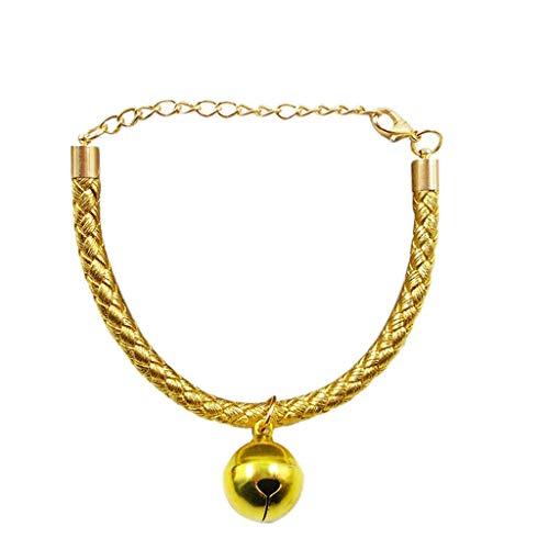 JKRTR Haustier Lieferungen 2019,Einstellbare Haustierhalsbänder mit Glocken Charm Halskette Kragen (Yellow,L)