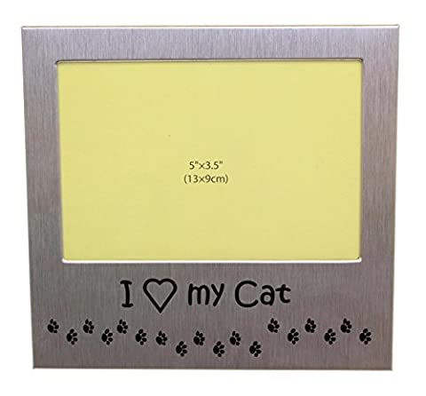 I Love My Cat - Photo Picture Frame Gift - Will take a photo of 5 x 3.5 Inches (13 x 9 cm) - Brushed Aluminium Satin Silver Colour.