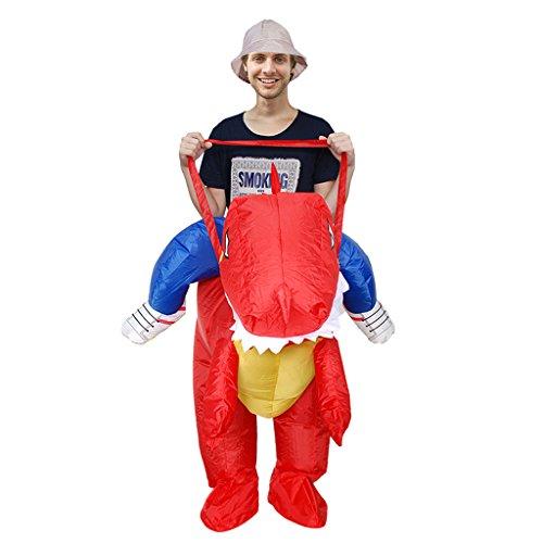 Gazechimp Aufblasbare Spaßkostüm Dinosaurier Kostüm Funny Straßenkarneval Halloween Party Outfit Kostüm - Rot, (Dinosaurier Kostüme Reiten)