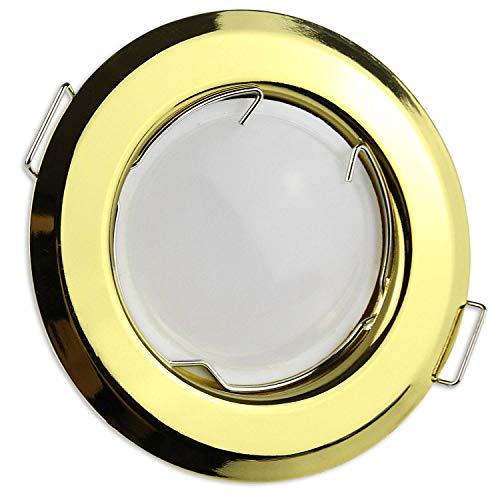 Foco LED empotrable dorado redondo 7 W blanco frío 230 V - GU10 lámpara empotrable 55 - 60 mm agujero - Foco de techo