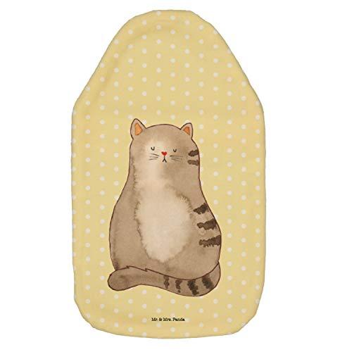 Mr. & Mrs. Panda Wärmflasche Katze sitzend - Katzen, Katze, Kater, Mietze, Cat, Cats, Katzenhalter, Katzenbesitzerin, Haustier, Katzenliebe, Lebensinhalt, Liebe, Mittelpunkt, Familie Wärmflasche, Wärme, kuschelig, gemütlich, Stoff