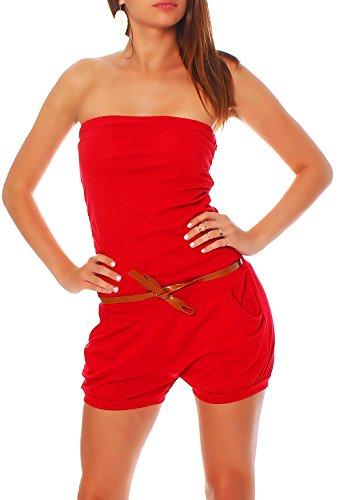 Malito Damen Einteiler kurz in Unifarben   Overall mit Gürtel   schicker Jumpsuit   Romper - Playsuit - Hosenanzug 8964 (rot)