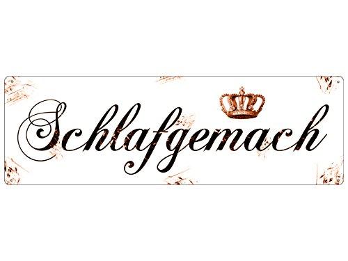 Interluxe METALLSCHILD Blechschild SCHLAFGEMACH Türschild Vintage Shabby Schlafzimmer