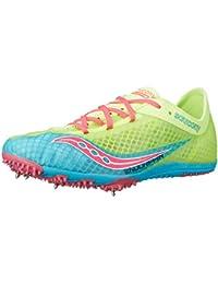 Saucony Women's Endorphin Spike Shoe, Blue/Citron/Pink, 6 M US