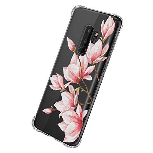 Qissy Cover Compatible With Galaxy S9, Cover Galaxy S9 Plus Silicone Case Bellissimi fiori TPU Coperchio Trasparente Molle di Sottile Custodia per Galaxy S9+ / S9 Plus (16, Samsung Galaxy S9)