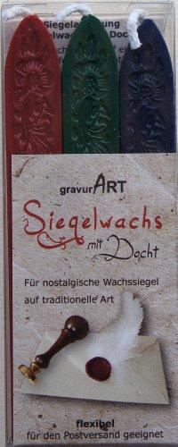gravurART - flexibles Siegelwachs mit Docht, 3 Stangen Bordeaux, Dunkelgrün, Dunkelblau