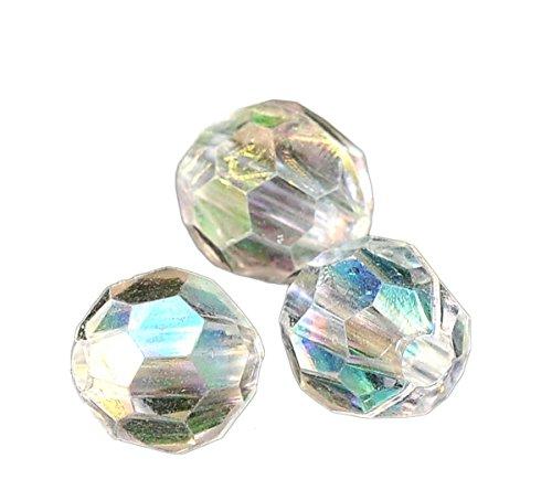 HOUSWEETY 500 Klar Bicone Rhombe Rund Facettiert Acryl Boehmen Perlen Beads 6mm