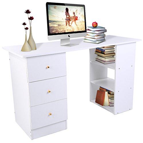 Homgrace scrivania per computer scrivania ufficio porta pc tavolo per studio lavoro gaming con 3 cassetti e 3 ripiani, 120 x 49 x 72cm bianco