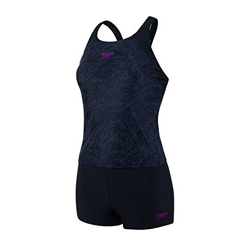Speedo Damen Boom Tankini mit Badeanzug, schwarz (Black/Oxid Grey), DE: 40
