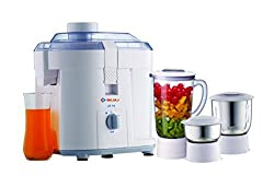 BAJAJJ JX10 JMG 450W Plastic Transparent Juicer, Mixer and Grinder, 1lb (Multicolour)