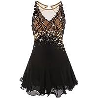 Eiskunstlauf Kleid für Mädchen Frauen, Handarbeit Rollschuhkleid Kostüm Spitze Ärmello Kristalle Eislaufen Kleider Kristalle Schwarz Gelb