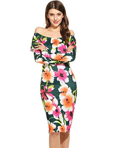 cooshional Femmes Robe Imprimé Floral à Manches Longues avec Epaules Nus Vert