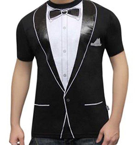 Für T Kostüm Erwachsene Shirt Tuxedo - Erwachsene Herren Bedruckt T-Shirts Uniform Kostüm Hen Night Junggesellen Party Fancy Dress Vielzahl von Designs (klein, Tuxedo)