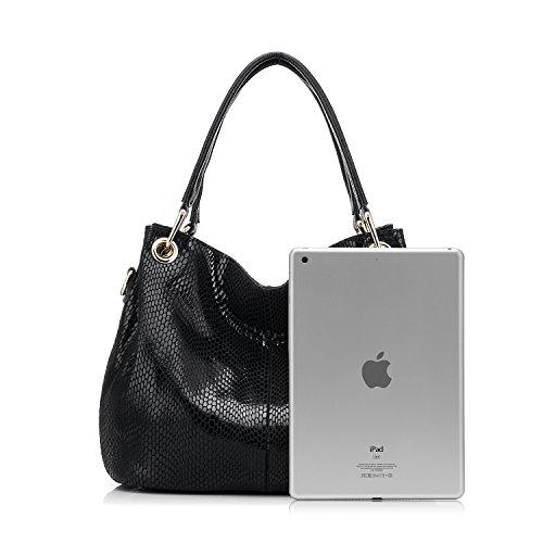 Realer Borse in pelle formale progettista del cuoio genuino e borse per le donne con borsa a tracolla della nappa Ufficio Nero