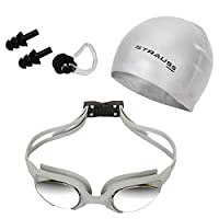 STRAUSS Unisex Adult ST-1345 Plastic Swimming Goggles Set - Grey, One Size