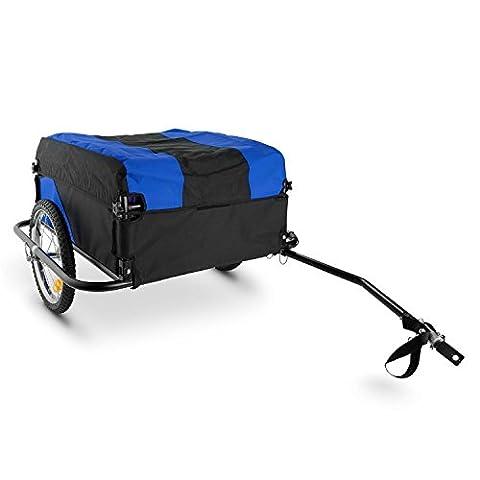 DURAMAXX Mountee • Fahrradanhänger • Lastenanhänger • Handwagen • mit Hochdeichsel • Transportbox mit 130 Liter Volumen • Tragkraft: max. 60 kg • Kugel-Kupplung für Fahrräder mit 26'' - 28'' • pulverbeschichteter Stahlrohrrahmen • blau
