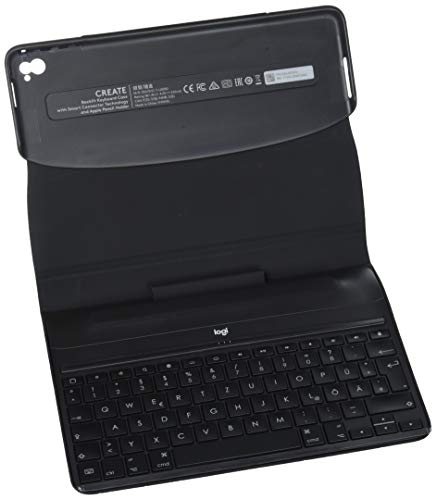 Logitech iPad Pro 9,7 Zoll Tastatur-Case (Create mit beleuchteter kabelloser Tastatur und Smart Connector 1. Generation, QWERTZ Deutsches Tastatur-Layout) schwarz (Mit Ipad Tastatur Generation-case 1.)