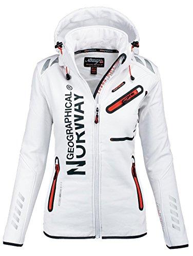 Geographical Norway Damen Softshell Funktions Outdoor Regen Jacke Sport [GeNo-24-Weiss-Gr.S] (Regen Frauen Jacke)