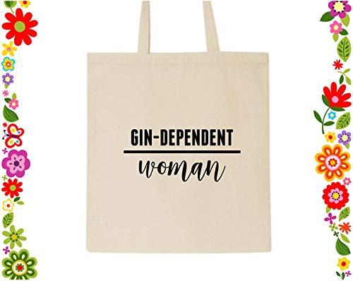 Gin Dependent Woman Canvas-Tragetasche, Geschenk für Mutter, wiederverwendbar, für Brautjungfer, Geschenk für Gin-Liebhaber, Gin-Geschenke