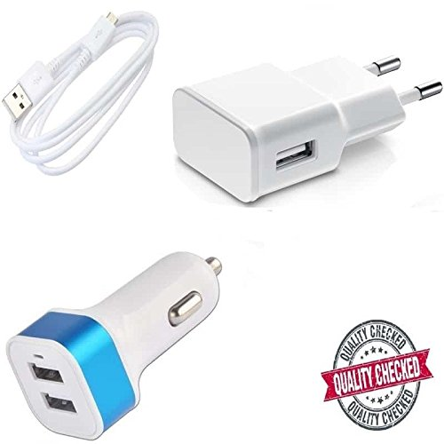 Gionee E7 Mini Compatible Certified Set of USB Data Charging Cable, High Speed Adapter & New Dual USB Car Charger  available at amazon for Rs.419